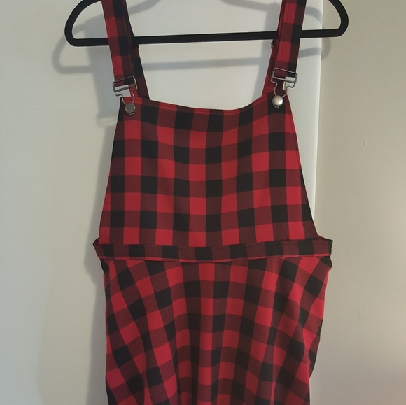 bff90b7742 Hot Topic Dresses   Skirts - Red and plaid overall dress